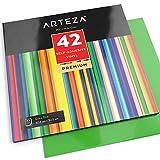 ARTEZA Selbstklebende Vinyl-Folie   12 x 12 Zoll (30.4 cm x 30.4cm) Blattgröße   Set mit 42 Klebefolie in Verschiedenen Farben   Vinyl-Blätter zum Aufkleben auf Glatten Oberflächen   Ideal zu Basten