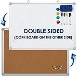 Whiteboard Korkwand Doppelseitig Set - Magnettafel/Pinnwand 60 x 45 cm + 1 magnetischer Radierer, 4 bunte Marker, 4 Magneten und 10 Reißnägel - Kleine Kombitafel Whiteboard Korkpinnwand