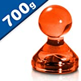 10 x Kegelmagnet/Kegel Pinnwand Magnet Neodym, Acryl - Ø 15 x 20mm - in 7 Farben - Haftkraft: 700g (bis zu 20 Blatt Papier DIN A4) - für Pinnwand, Kühlschrank, Whiteboard