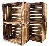 Kontorei geflammte/braune Apfelkisten 50cm x 40cm x 30cm 4er Set Holzkisten Weinkisten Obstkiste Kiste Box