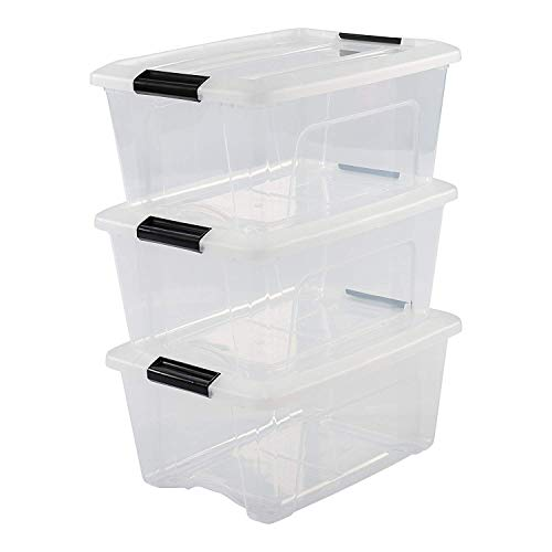 Iris Ohyama, 3er-Set stapelbare Aufbewahrungsboxen mit Klickverschluss - New Top Box NTB-15 - plastik, transparent, 3 x 15 L, L39,5 x B29 x H18,6 cm