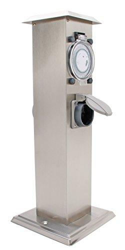 Kopp 145317016 Energiesäule V2A mit 2 Schutzkontaktsteckdosen und Zeitschaltuhr, Edelstahl, 3680 W, 230 V, grau