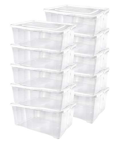 10 er Set Alpfa Schuhboxen je 10,0 Liter Inhalt - transparent mit Deckel - stapelbar 37x26x13 cm