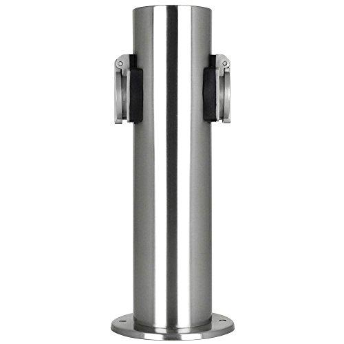 Grafner® Edelstahl Gartensteckdose Steckdosensäule Energiesäule mit 2 x Steckdosen