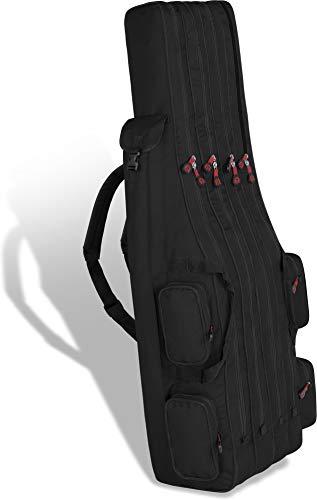 Rutentasche Rod Case Angelkoffer Futteral mit 3 Ruten-Fächern, Verschiedene Längen wählbar - stark wasserabweisender Fishing Rucksack Farbe Black 4 Innenfächer Größe 150 cm