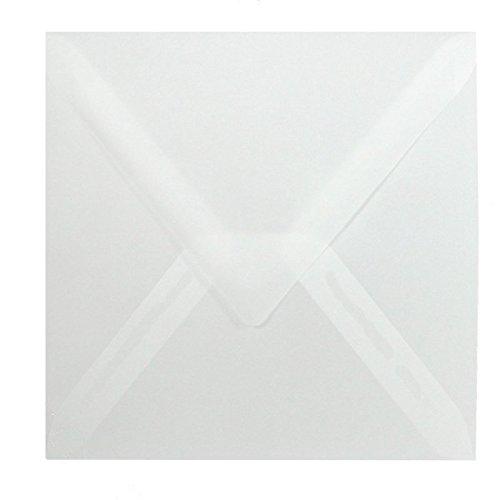 50 Quadratische Briefumschläge - Transparent - 90 g/m² - 150 x 150 mm 15 x 15 cm - Dreieckslasche feuchtklebend - ohne Fenster - sehr gute Qualität