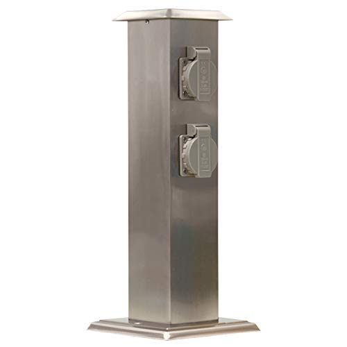 Grafner Edelstahl Gartensteckdose mit 4 Steckdosen, IP54, eckig, Klarlack-Beschichtung, Energiesäule Mehrfachsteckdose Outdoor Metall Außensteckdose 4-fach