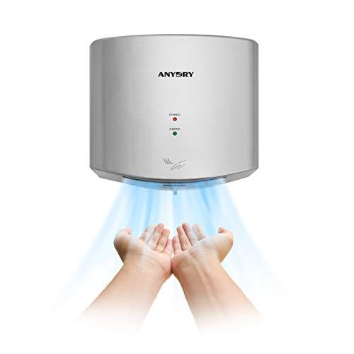 anydry 2630S Kompakter Händetrockner,Automatischer Elektrischer Händetrockner für Wandmontage,Für Gewerbliche oder Private Zwecke,Händetrockner für Toiletten.1400W.(Silber)