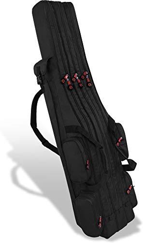 normani Fishing Sports Rutentasche Anglertasche 160 cm Länge mit 3 Kammern bis 6 Ruten für Angelruten, Kescher und Rutenhalter Farbe Schwarz