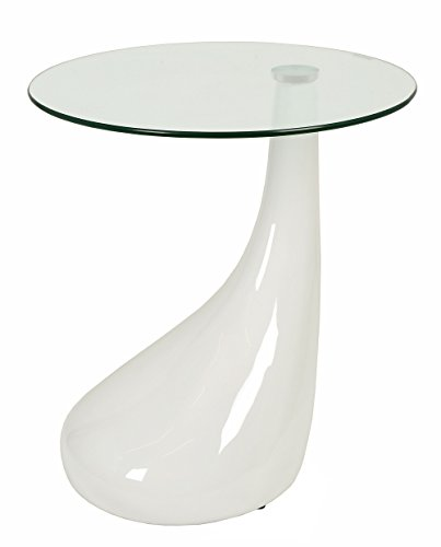 ts-ideen Design Glastisch Beistelltisch Couchtisch in weiß mit Tropfenform-Fuß und 8 mm ESG Sicherheitsglas