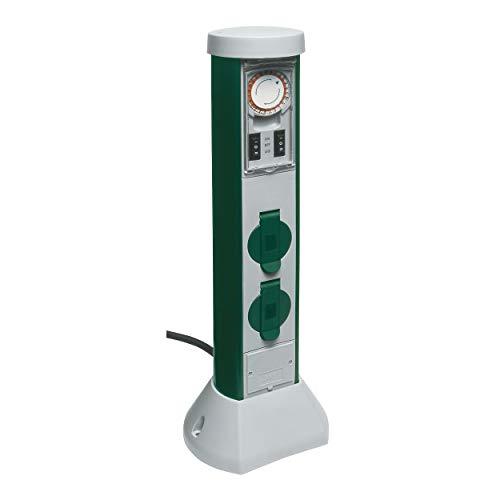 REV 0068206251 GreenCraft Gartensteckdose, Höhe 50 cm, Kabel 5 m, mit Zeitschaltuhr