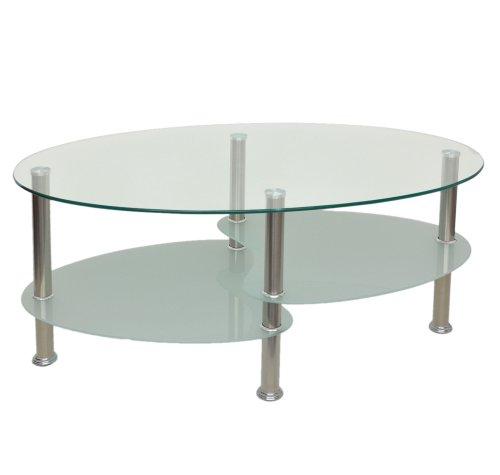 ts-ideen Glastisch Beistelltisch Couchtisch oval Edelstahl mit 8 mm ESG Sicherheitsglas