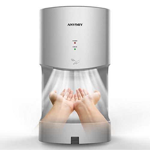 anydry 2630TS Händetrockner,Automatischer Elektrischer Händetrockner für Wandmontage,Elektrischer Händetrockner mit Ablaufwanne,Händetrockner für Toiletten.1400W.(Silber)
