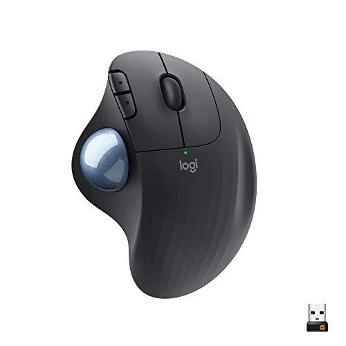 Logitech ERGO M575 Wireless Trackball Maus - Einfache Steuerung mit dem Daumen, flüssige Bewegungen, ergonomisches Design, für Windows, PC & Mac mit Bluetooth- & USB-Funktion - Schwarz