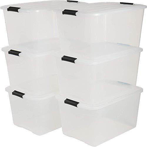 Iris Ohyama 6er-Set, Aufbewahrungsboxen, 45 L, mit Clips, stapelbar, Wohnzimmer, Schlafzimmer, Garage - Top Box TB-45 - Transparent