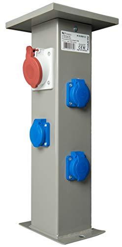 Baustromverteiler Steckdosensäule 1 x CEE16A + 3 x 230V Schuko Außensteckdose Gartensteckdose IP44