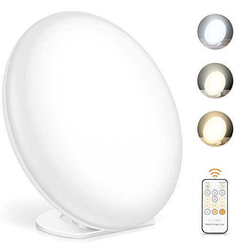 Tageslichtlampe, Lichttherapielampe mit Memoryfunktion, 3 Lichtfarben und 5...