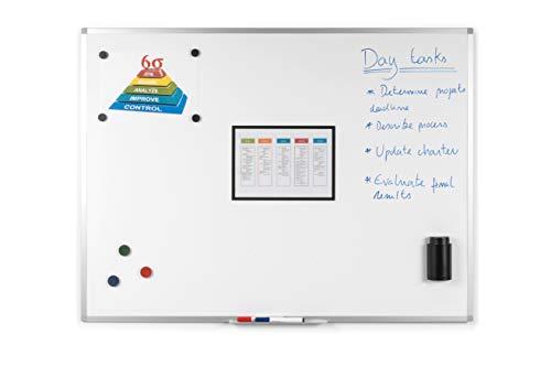 BoardsPlus Magnetisches Whiteboard 90 x 60 cm, Mit Aluminiumrahmen und Stifteablage, Tocken Abwischbar, Wiederbeschreibbar