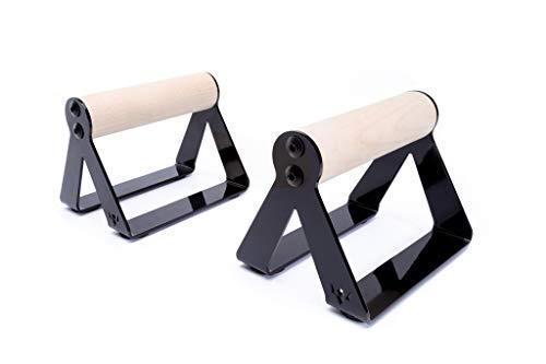 PULLUP & DIP Liegestützgriffe Handstandgriffe mit rundem Holz Griff und hochbelastbarem Stahl - rutschfeste Push-Up Bars Handstandbarren für Calisthenics und Fitnesstraining