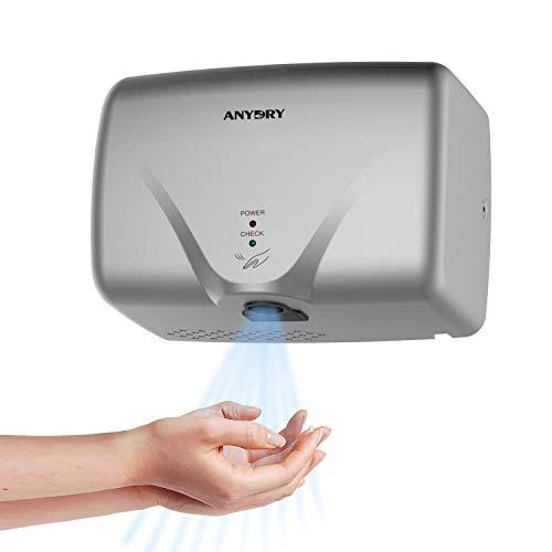 anydry®AD2803K Mini Elektrischer Händetrockner,Wand-Händetrockner,Automatischer Händetrockner,Hygienisch und sehr platzsparend.ABS-Kunststoffschale.1150W.(Silber)