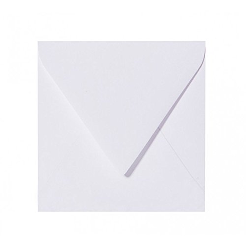 25 Quadratisch Briefumschläge in Weiß, Format: 150 x 150 mm, 15 x 15 cm mit Dreieckslasche