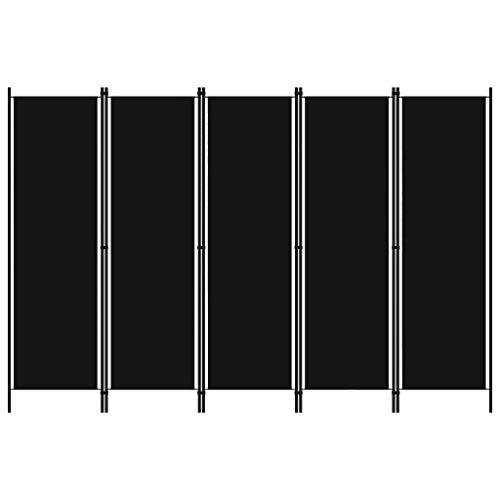 vidaXL Raumteiler Klappbar Freistehend Trennwand Paravent Umkleide Sichtschutz Spanische Wand Raumtrenner 5-TLG. Schwarz 250x180cm Eisen Stoff