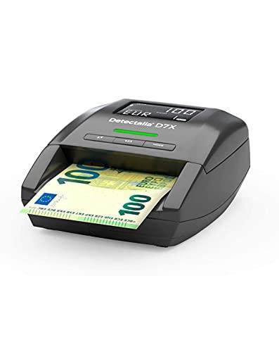 Detectalia D7X - EUR, GBP, CHF, PLN, CZK und SEK Automatisches Falschgeld Prüfgerät zur 100% Sicherheit, Geldscheinprüfer 14 x 12 x 6 cm