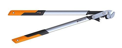 Fiskars PowerGearX Amboss-Getriebeastschere für trockenes und hartes Holz, Antihaftbeschichtet, Gehärteter Präzisionsstahl, Länge 80 cm, Schwarz/Orange, LX99-L, 1020189