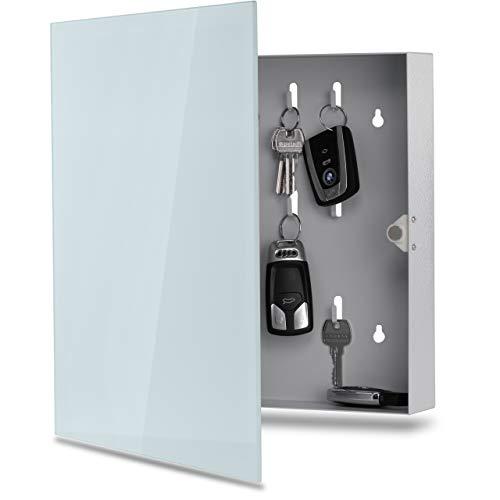 Schlüsselkasten mit Glas Magnettafel - Memoboard inkl. 6 Magnete, 35x35x6,5 cm - milchglas