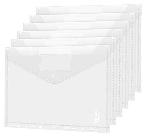 Dokumententasche A4 10 pack- Transparent Druckknopf A4 Dokumentenmappe Sammelmappen für Dokumente Organisieren mit Binderlöcher und Etikettentasche wasserdicht