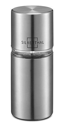 SILBERTHAL Muskatmühle mit integriertem Vorratsbehälter für 4 Nüsse - Muskatnussmühle aus Edelstahl - Version 2019