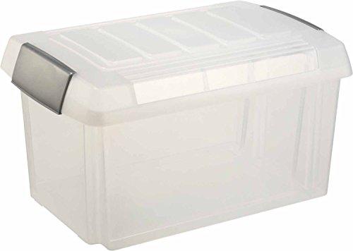 Helit H6160702 - Aufbewahrungsbox 60 Liter, geeignet für Ordner, transparent