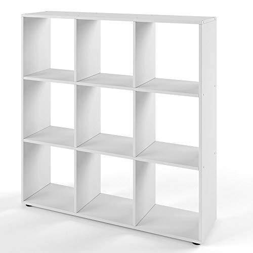 Vicco Bücherregal Nove 9 Fächer Raumteiler Standregal Aktenregal Aufbewahrung Regal (Weiß)