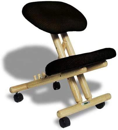 cinius Ergonomischer Stuhl Orthopädischer Kniestuhl Computerstuhl Kniehocker Stoff Natural/Schwarz Farbe