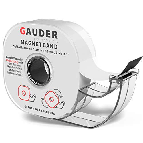 GAUDER Magnetband selbstklebend im Spender I Magnetklebeband I Magnetstreifen