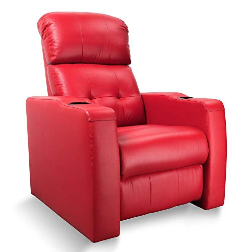Zinea Kinosessel, Heimkinosessel, Kinositz, Multimediasessel, Fernsehsessel, TV Sessel Baseline One - 1 Sitzer - Echtleder; elektrisch verstellbar; Becherhalter