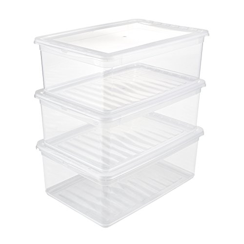 keeeper Aufbewahrungsboxen mit Air Control System, 3-teiliges Set, Höhe: 14 cm, 3 x 11 l, 39 x 26,5 x 14 cm, Bea, Transparent