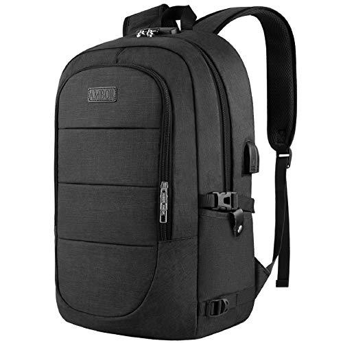 AMBOR Anti Diebstahl Laptop Rucksack, 17.3 Zoll Business Reise Rucksack Tasche mit Schloss mit USB Ladeanschluss (schwarz