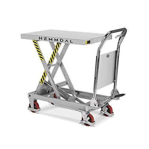 Scherenhubtischwagen Hemmdal PRO   Hubtisch fahrbar   Tragkraft 300 kg   Geräuscharme Räder   Hubtischwagen 850 x 500 mm   Hubhöhe 880 mm
