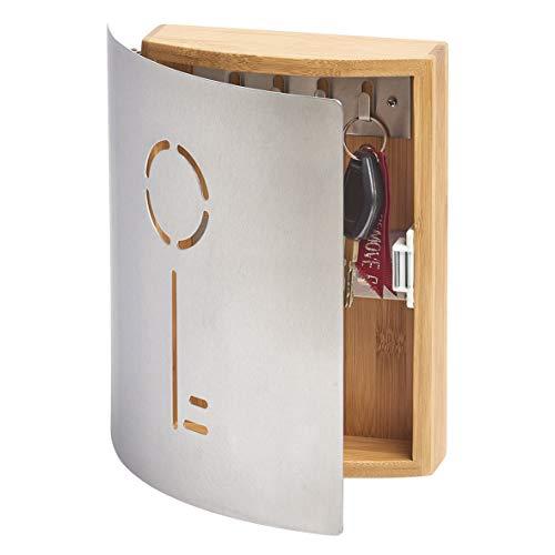 Zeller 13846 Schlüsselkasten 'Schlüssel', Bambus/Edelstahl, ca. 21,5 x 5,5 x 24,5 cm