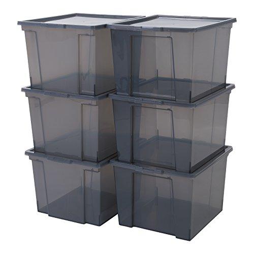 Iris Ohyama 6er-Set, Aufbewahrungsboxen, 40 L, mit Deckel, stapelbar, Garage, Schlafzimmer, Wohnzimmer - Useful Storage Box USB-MP - Grau
