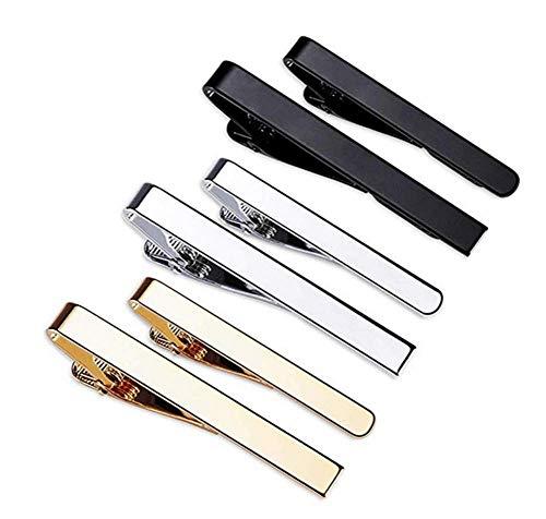 Krawattenklammern,6 Stück Krawattennadel Tie Clips mit Gold Silber Schwarz 3 Tone für Hochzeit Business Clips Skinny Krawattenklammer