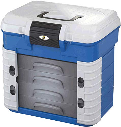 Behr Superbox - Sitzkiepe und Angelkoffer, belastbar -150kg, befüllbar -50kg, 4 Schubladen resistent gegen Weichköder, Maße 420x303x400mm