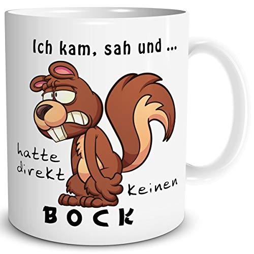 TRIOSK Tasse Eichhörnchen mit Spruch lustig Ich kam SAH und Hatte direkt keinen Bock Geschenk Spaßtasse für Arbeit Büro Frauen Männer Kollegen