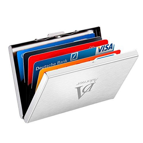 Kreditkartenetui ATMOKO 6 Karten Etui RFID Blocker Scheckkartenetui Visitenkartenetui Credit Card Holder Metall Kreditkartenetui Kartentasche Bankkartenetui Kreditkartenbox für Damen und Herren