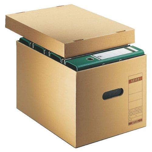 Leitz Archiv- und Transport-Schachtel, Obere Öffnung, Extrastarke Wellpappe, Faltbar, Naturbraun, Leitz Premium Archiv Serie, 60810000