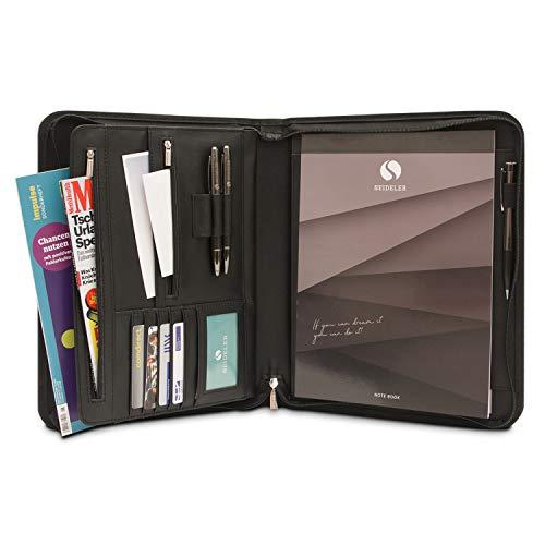 SEIDELER Premium Schreibmappe A4 im Geschenkkarton, hochwertige Konferenzmappe