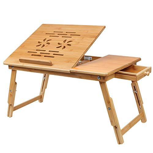 Hossejoy Laptoptisch aus Bambus, Laptoptisch Notebooktisch Betttisch Lapdesks für Lesen oder Frühstücks und Zeichentisch Laptops höhenverstellbar Faltbare 55 x 35 x 33 cm