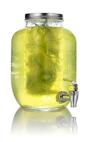 Mary's KITCHEN TOOLS Getränkespender 4 Liter aus Glas mit Fruchteinsatz   mit...
