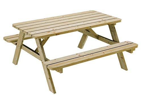 PLATAN ROOM Picknick Sitzgruppe aus Holz 170 cm Tisch Bank Kiefernholz massiv 35 mm Bierbank stabil und robust